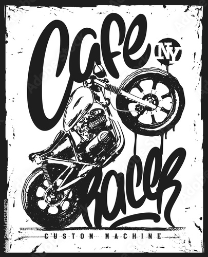 Canvas Print Cafe racer Vintage Motorcycle hand drawn t-shirt print