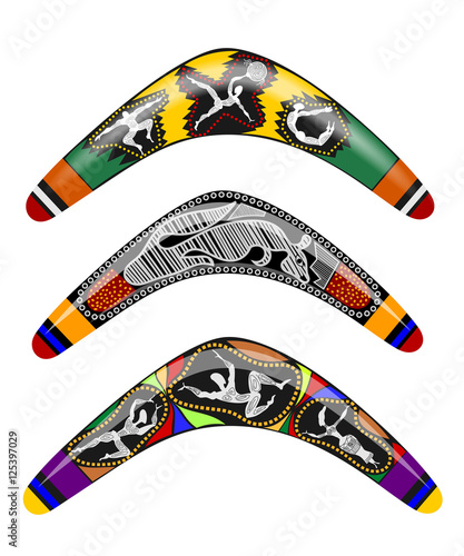 Photo Set Vector illustration Australian wooden boomerang. Cartoon boo