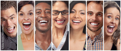Leinwand Poster Happy people faces set