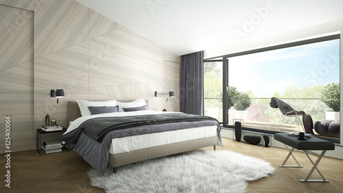 Fotografía  3D rendering of a modern luxurious bedroom with a balcony
