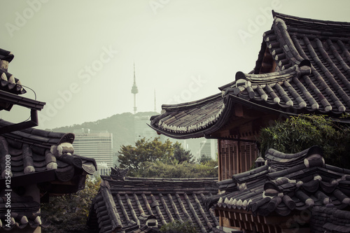 Canvas Prints Seoul Bukchon Hanok Village is one of the famous place for Korean trad