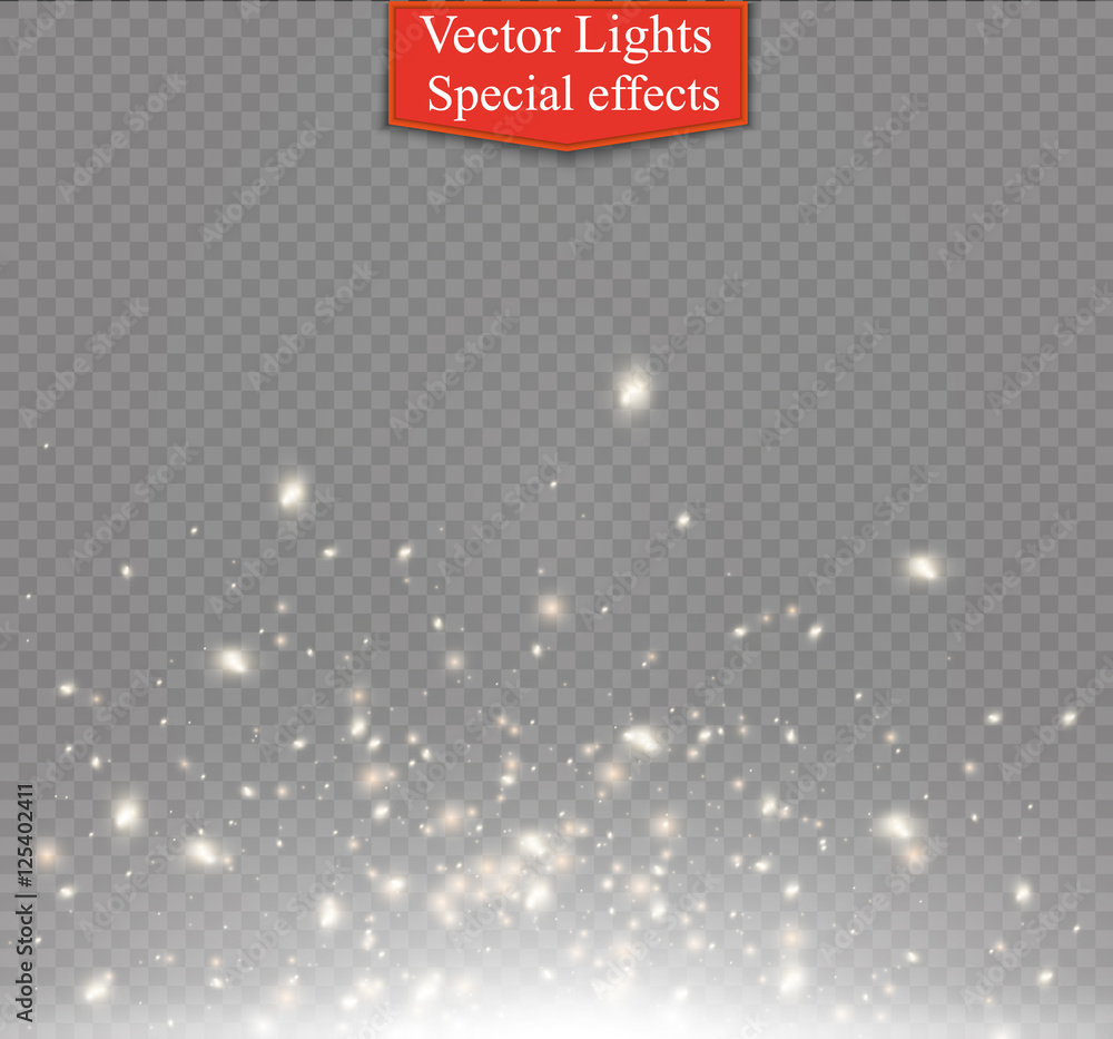 Fototapety, obrazy: White sparks and golden stars glitter special light effect.  Sparkling magic dust particles