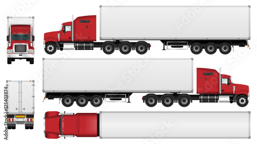big truck with trailer vector template semi truck isolated on white