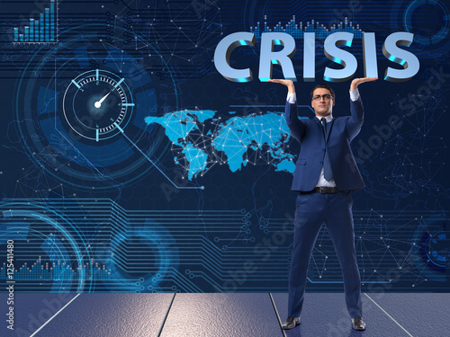 Photo  Businessman in crisis business concept