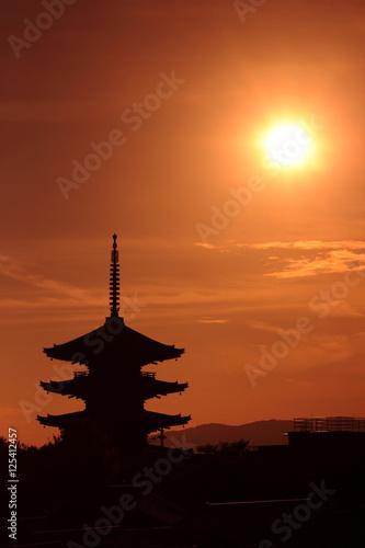 Printed kitchen splashbacks Kyoto 京都 八坂の塔と夕陽