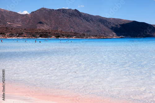 Pink Sand Beach With Azure Clear Water Of Famous Elafonisi