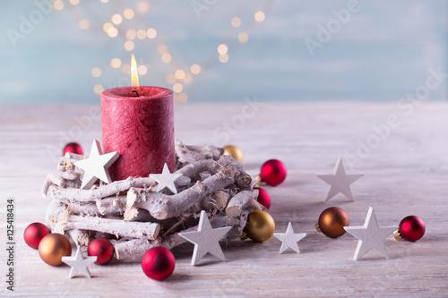 Fotografie, Obraz  Dekoration mit Kerze im Advent