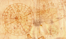Astronomical Clock In Grunge Style Useful As A Background - 16:9