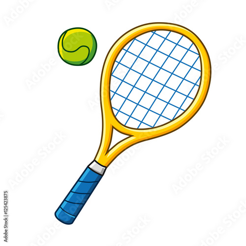 Plakát  Yellow tennis racket and ball icon isolated.