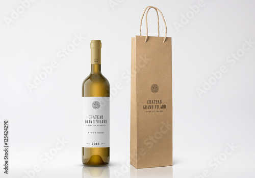 Wine Bottle and Paper Bag Mockup. Buy this stock template and ...