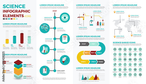 Science education infographic elements Canvas Print