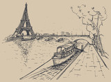 Vector illustration of Eiffel Tower in sketch style, hand drawn