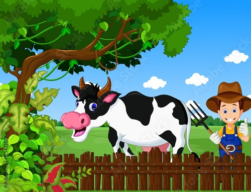 Foto op Plexiglas Groene funny farm with cow cartoon and farmer life background