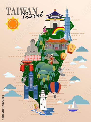 Fotografía Taiwan travel poster