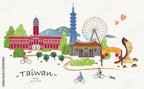 Fotografía  Hand drawn taiwan travel poster