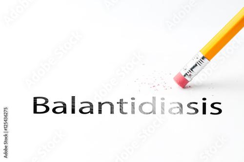 Photo Closeup of pencil eraser and black balantidiasis text