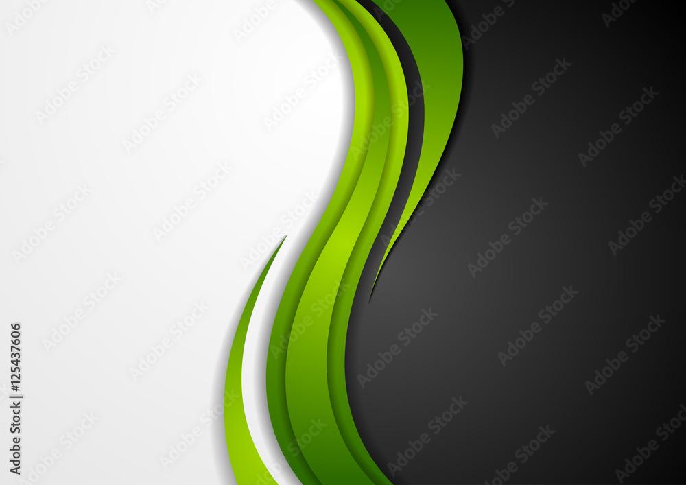 Fototapeta Abstract green black grey wavy background
