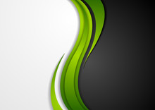 Abstract Green Black Grey Wavy...