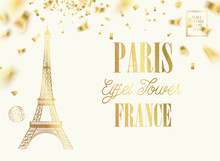 Eiffel Tower Icon With Golden Confetti Falls Isolated Over White Background And Sign Paris Eiffel Tower France. Vector Illustration.