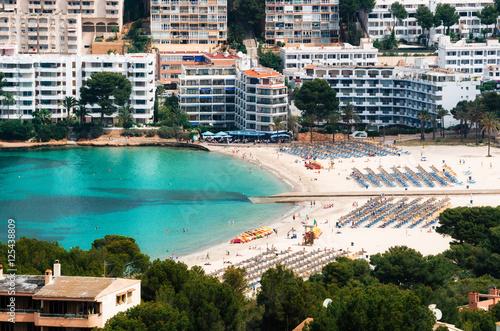 Aerial view of Santa Ponsa beach and hotels, Mallorca