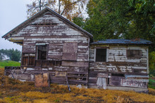 Delapidated Old Houses Along Highway 160 In California