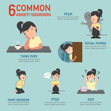6 Common Anxiety Disorders Infographic,illustration.