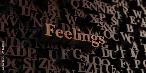 Fotografie, Obraz  Feelings - Wooden 3D rendered letters/message