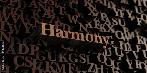 Fotografie, Obraz  Harmony - Wooden 3D rendered letters/message