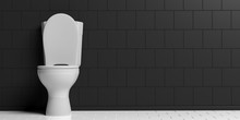 White Toilet Bowl On Black Wall Background, Copy Space. 3d Illustration