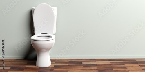 White toilet bowl, copy space. 3d illustration Poster