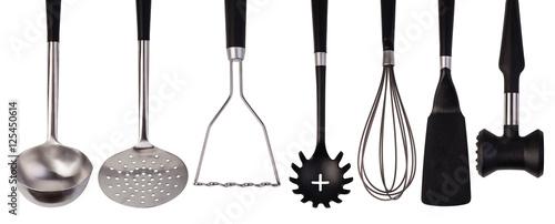 Fotografía set of stainless steel kitchenware