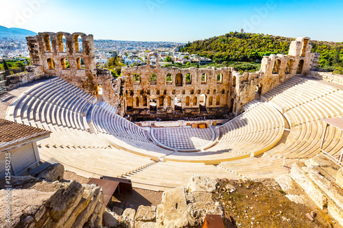 Photo Stands Athens Ancient Amphitheater of Acropolis of Athens, landmark of Greece