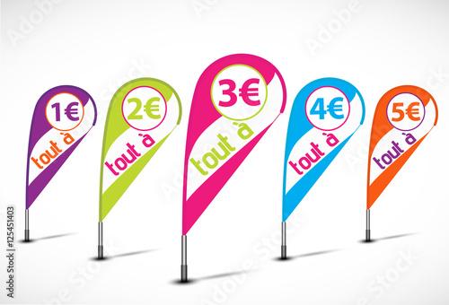 Valokuva  bannières flottantes multicolores : tout à 1, 5€