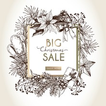 Vector Banner For Christmas Sale. Hand Drawn Vintage Elements In Square Border Composition. Xmas Shoppoing Offer.