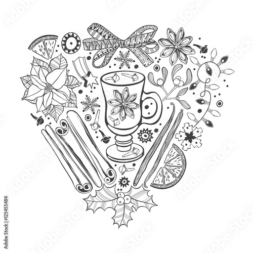 Christmas Heart Vector.Christmas Heart Vector Illustration Of A Traditional