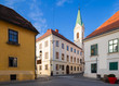 Middle age houses and greek-catholic church in upper town in Zagreb. Historical part of Zagreb called Gornij Grad. Croatia.