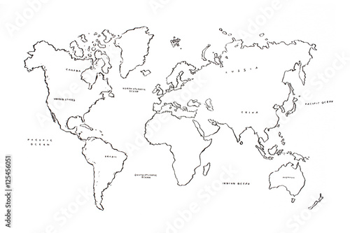 Fotobehang Wereldkaart World map ink illustration isolated on white background.