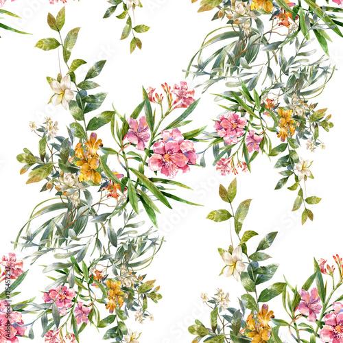 liscie-i-kwiaty-wzor-na-bialym-tle