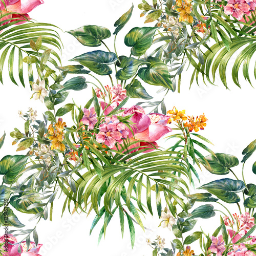 Cotton fabric Watercolor painting of leaf and flowers, seamless pattern on white background