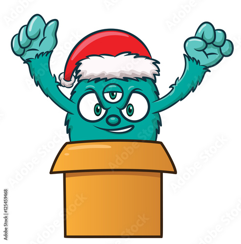 Foto op Canvas Piraten Christmas Monster in Present Box Cartoon Illustration