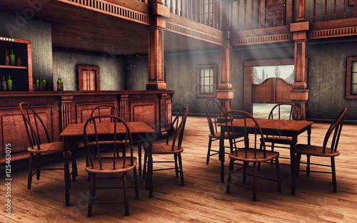 Wnętrze baru na Dzikim Zachodzie Canvas Print