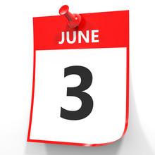 June 3. Calendar On White Background.