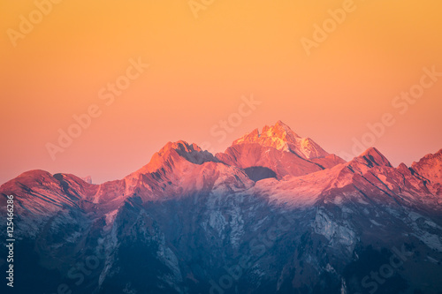 Coucher de soleil dans les Aravis Slika na platnu