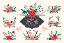 Christmas Hand Drawn Decorative Collection Of Floral Arrangements With Antlers And Poinsettia, Vector Design