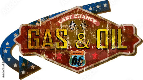 Zdjęcie XXL grungy retro route 66 gas station sign, vector
