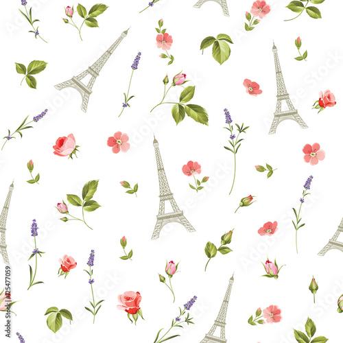 Tapety o tematyce podróżniczej wzor-z-czerwonymi-kwiatami-liscmi-i-eifflem