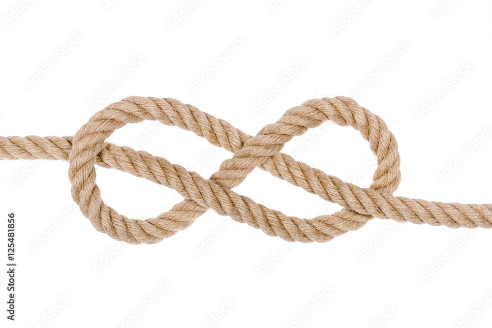 Fototapeta Nautical rope knot. Figure eight knot isolated on white background.