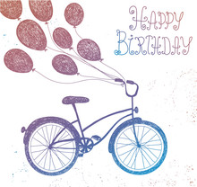 Vector Hand Drawn Vintage Bicycle With Balloons.