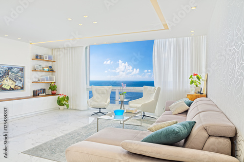 Modern Luxury Interior Design Of Living Room With Sea View