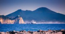 Cape Miseno And Vesuvius, Gulf Of Naples, Italy